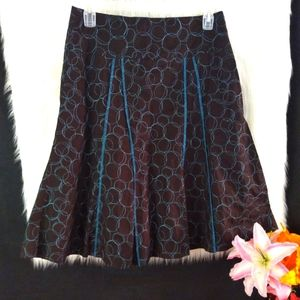 IXIA Brown and Blue A-line Skirt Size M